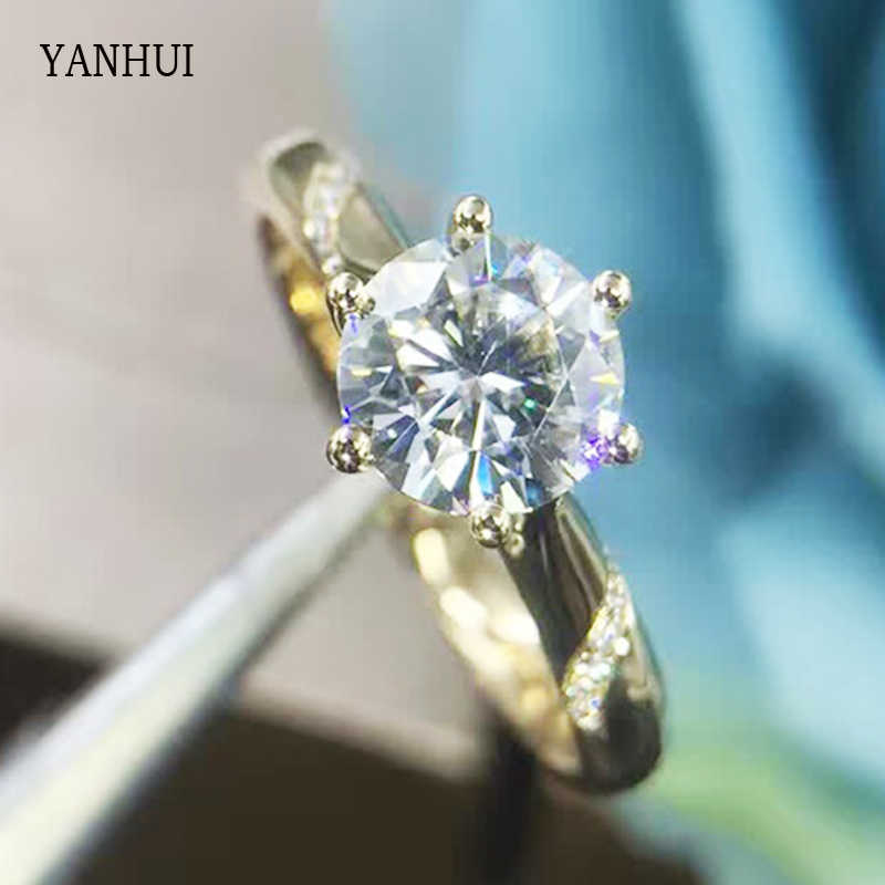 YANHUI Fashion Ring Real Rose Gold Filled 1 Carat CZ Zircon Wedding Rings For Women Trendy Jewelry JZ200