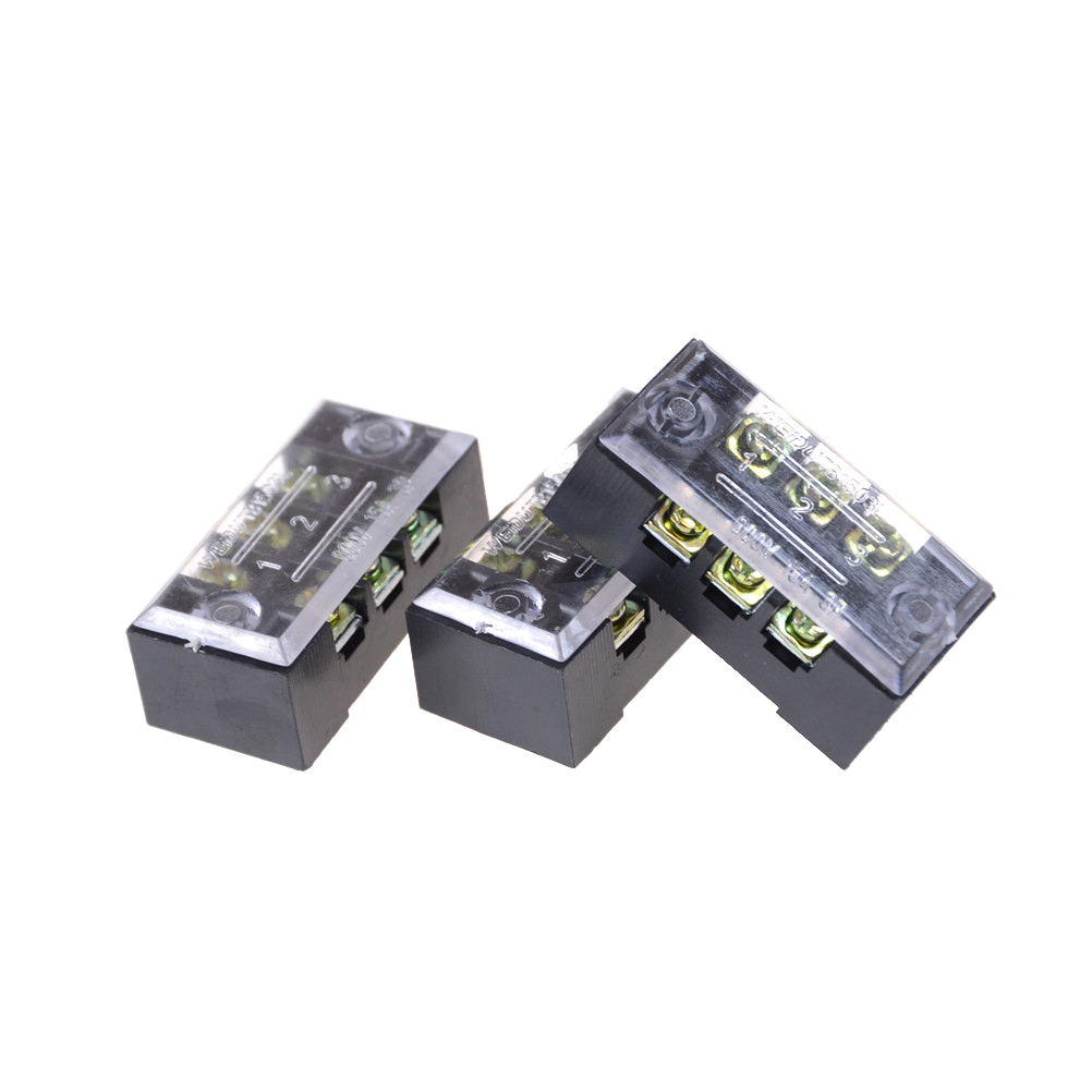 Dual Row Covered Electric Barrier Screw Strip Terminal Block Positions 600V 15A