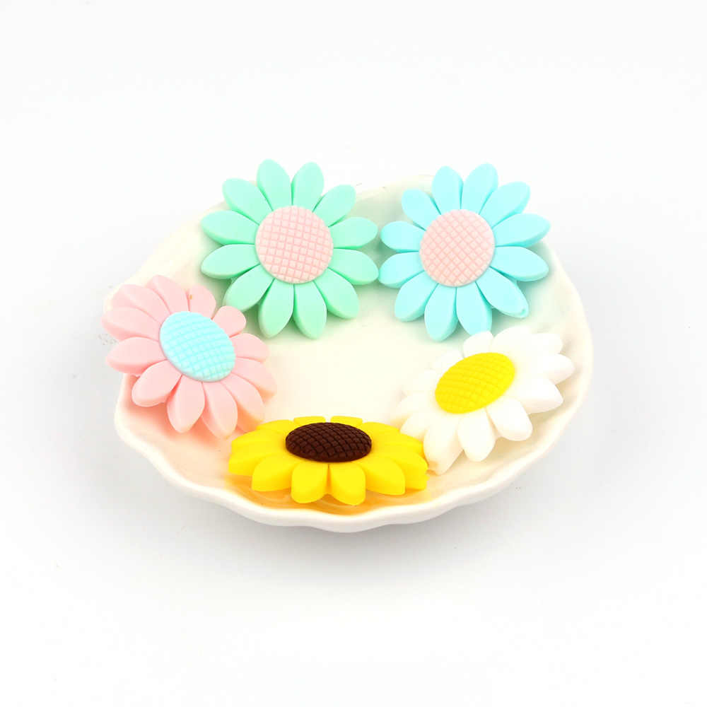 Tyry. hu Gratis Pengiriman 5 PC Makanan Grade Silikon Manik-manik Bunga Matahari BPA Free Baby Silicone Teether Mengunyah Hewan Pengerat DIY Bayi Tumbuh Gigi mainan