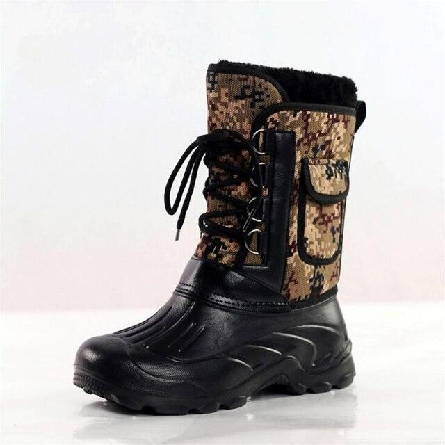 Homens Botas de Inverno Botas de Neve Ao Ar Livre Botas De Pesca Botas de Homens Do Exército À Prova D' Água e Anti-skid Quente Esqui Sapatos de Top qualidade