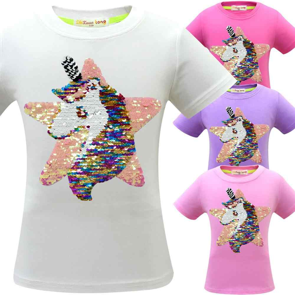 Unicorn T Shirt Baby Girl Summer Clothes Camiseta Unicornio Tshirt Girls Tops Femme Kid Tee Enfant Birthday Party Color Sequins
