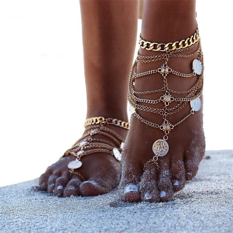11 Style Foot Jewelry Vintage Anklet For Women Multilayer Ankle Leg Chain Charm Starfish Beads Bracelet Fashion Beach