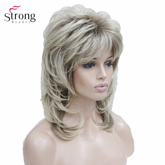 Cascaded Blond with Dark Roots Synthetic Wig