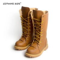 CCTWINS KIDS Winter PU Lederen Schoen Meisje Kniehoge Boot Kind zwart Boot Baby Fringe Boot Kid Lace Up Tassle Zip boot CH77