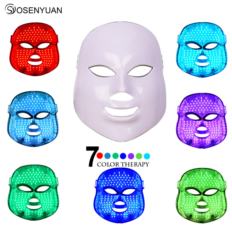 Newest 7 Color LED Mask Facial Therapy Anti-Wrinkle Machine Acne Removal Beauty Spa Device Skin Rejuvenation White Face Masker led face mask 7 colors led photon facial mask wrinkle acne removal spa device skin rejuvenation white facial masker us plug