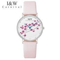Швейцарский импортный КВАРЦ ДВИЖЕНИЕ женские часы карнавал люксовый бренд часы для женщин сапфир из натуральной кожи reloj hombre C3002 3