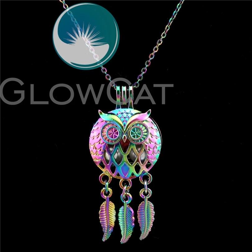 Rainbow Owl Pendant Necklace