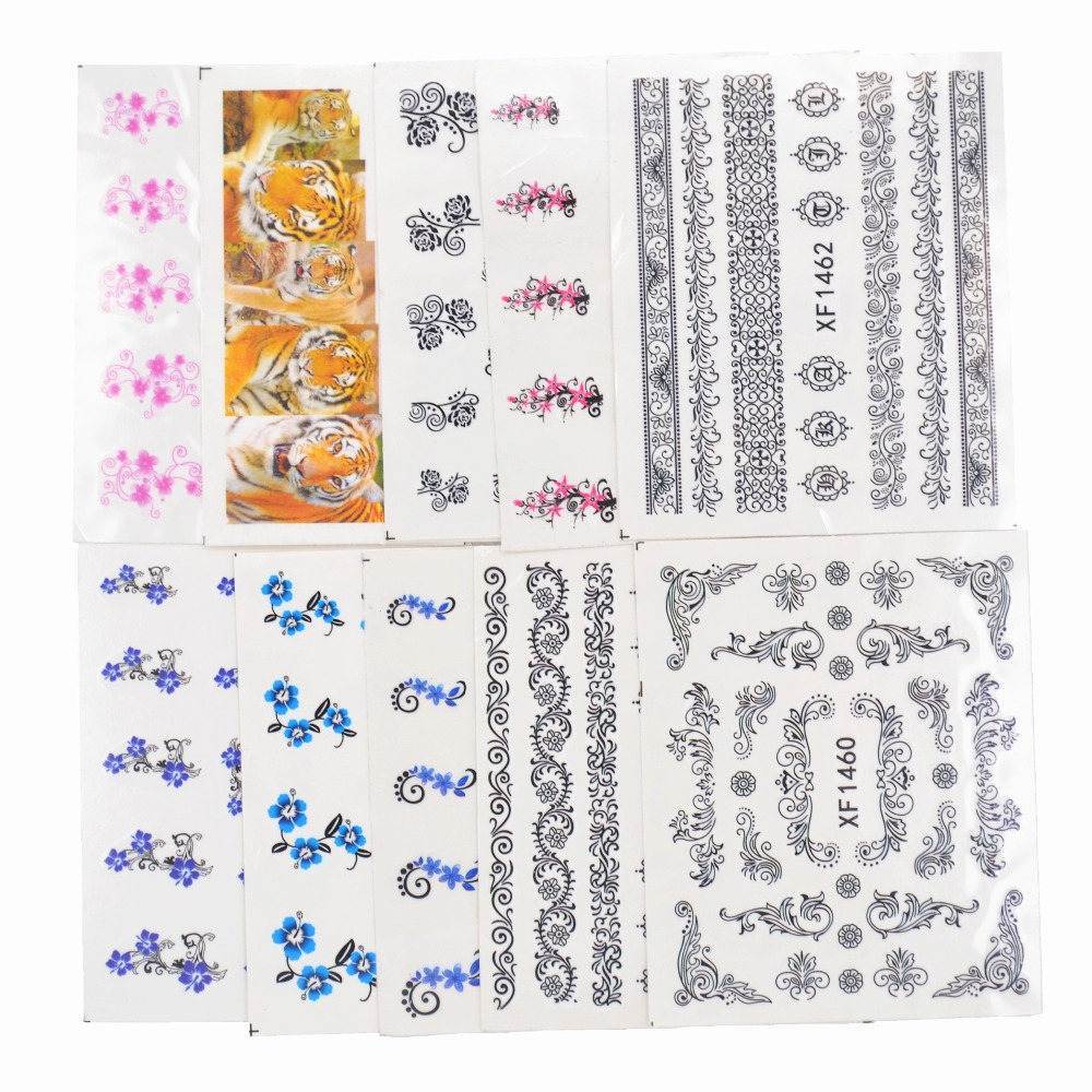 Image 5 - 50 Sheets Mixed Styles Watermark Flower Cat Etc Stickers Nail Art Water Transfer Tips Decals Beauty Temporary Tattoos Tools-in Stickers & Decals from Beauty & Health