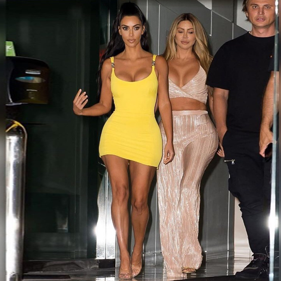 Kim Kardashian Outfit Sexy Tight Sling Strapless Dress - kim-kardashian-outfits-dresses
