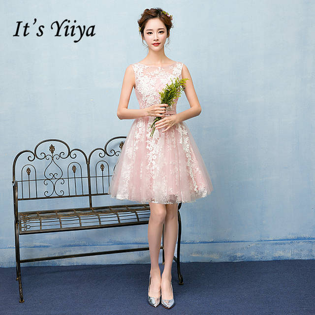 1c6744ea112 It s YiiYa 2017 Sales Pink Sleeveless O-Neck Bridesmaid Dresses Pattern  Lace Up Bow Embroidery. placeholder ...