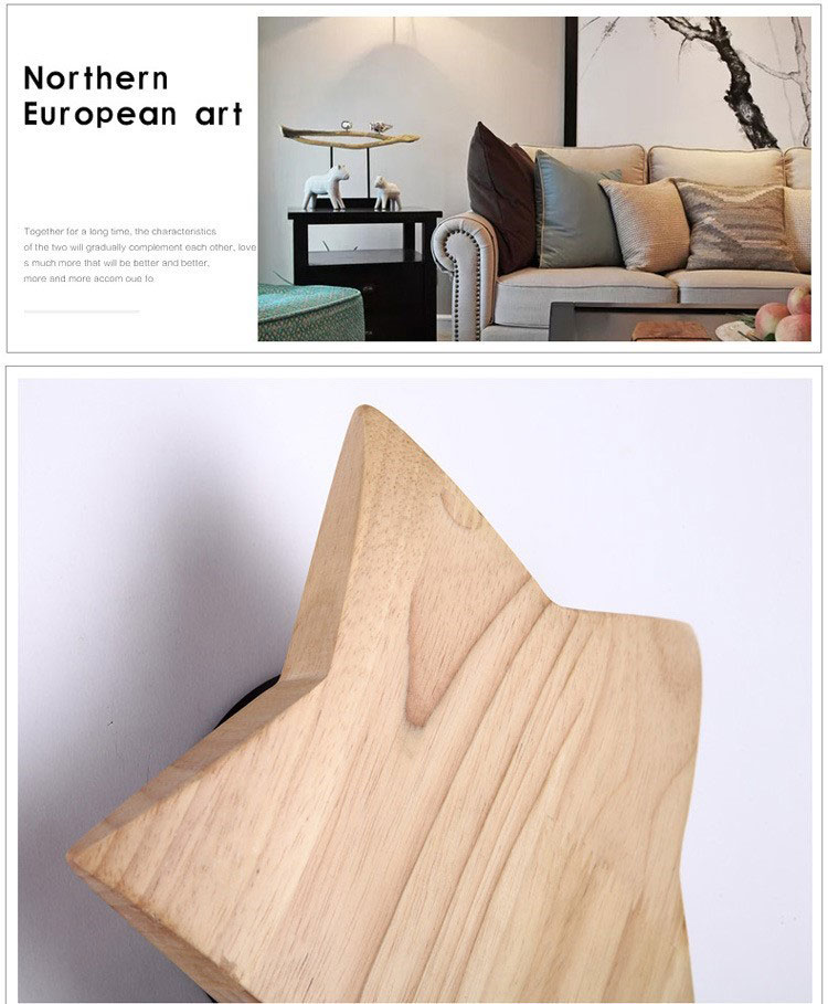 Solid Wood LED Wall Lamp Creative Wooden Study Room Lamp Day Korean Modern Led Star Child Wall Lamp Living Room Bedroom Decor in Wall Lamps from Lights Lighting