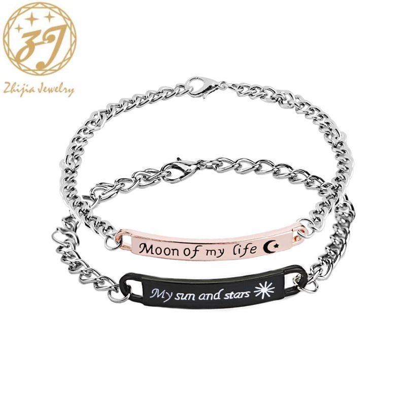 zhijia moon of my life Bracelets Bending my sun and stars Bracelet couple valentine's day Gift charm bracelet for lovers image