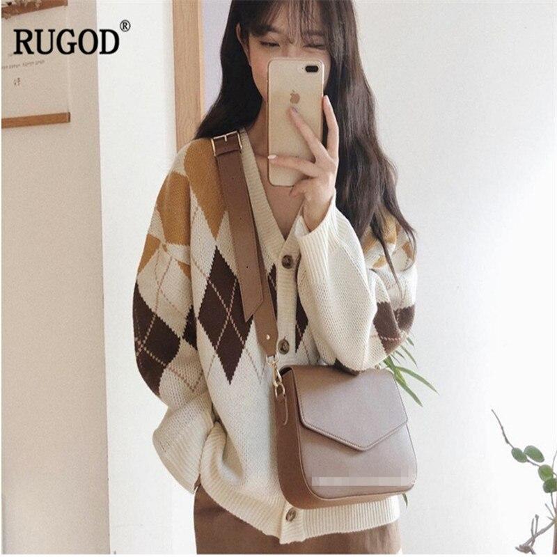 RUGOD 2019 винтажные Модные женские кардиганы с v образным вырезом Повседневный женский свитер корейский стиль вязаная женская весенняя одежда sueter mujer