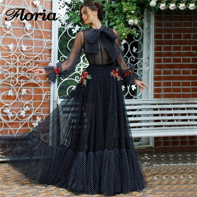 Vestidos De Noche De cuello alto De princesa azul marino 2019 flores árabes Vestido largo De fiesta para bodas