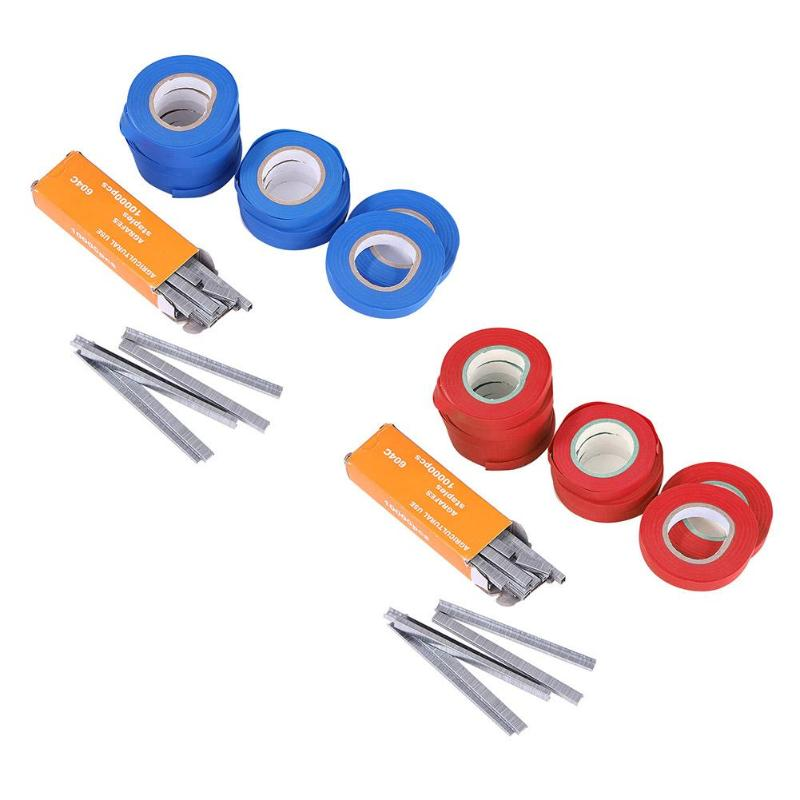 Garden Plant Tapetool Tapener Tying Machine Accessories 10 Roll Tape + 1 Box Nails Vegetable Grape Pruning Tools