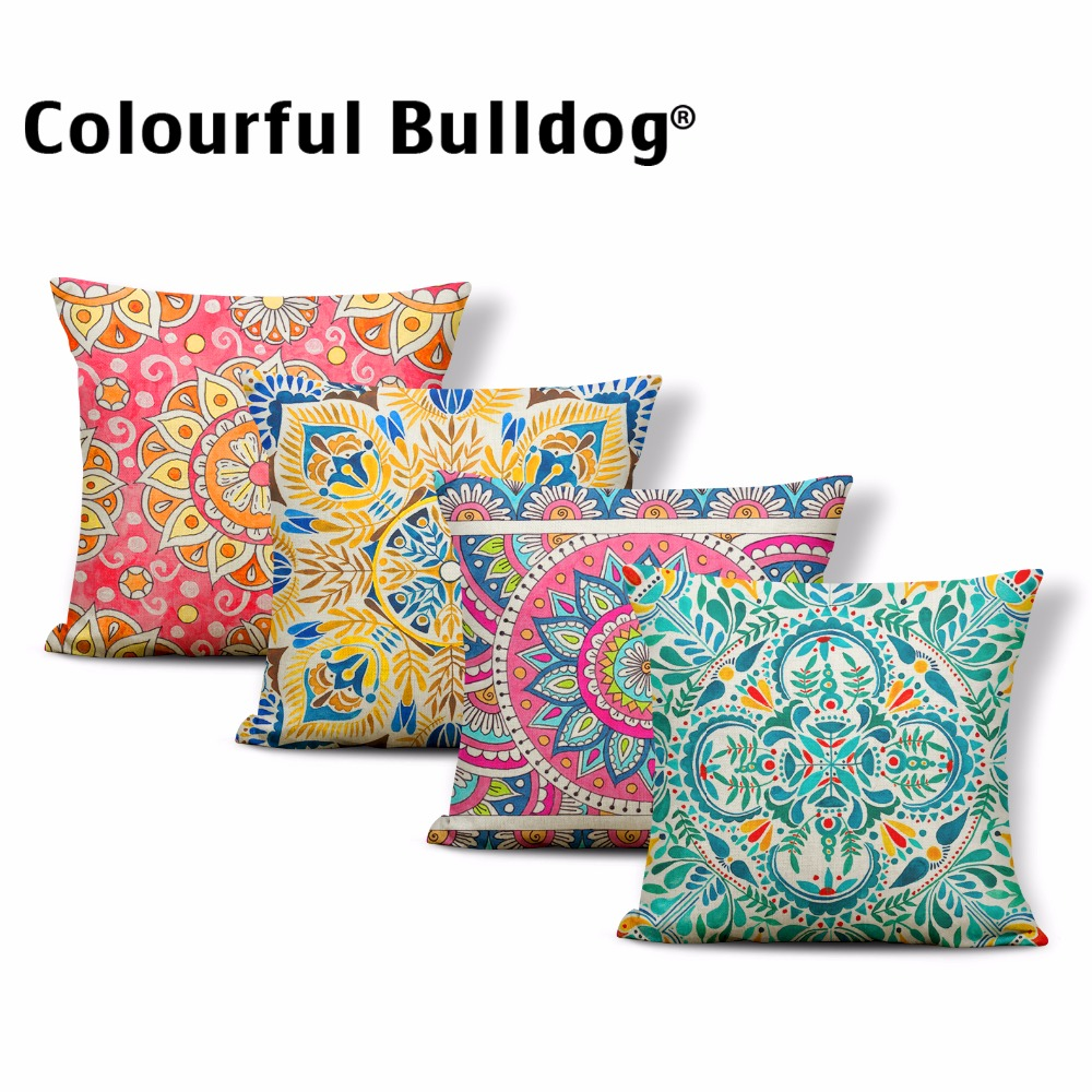 Mandala Buddhism Lotus Cushions Cases Flowers Geometry Toss Pillows Decor Backyard Gifts For Medical 17*17In Burlap Pillow Cover