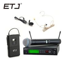ETJ бренд SLX24/BETA58 58A Профессиональный UHF беспроводной двойной микрофон системы ручной гарнитура микрофон