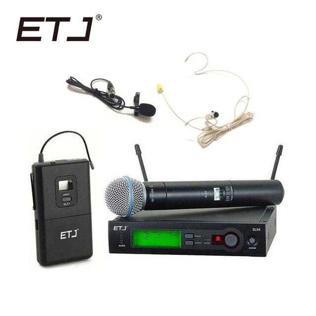 ETJ العلامة التجارية SLX24/BETA58 58A المهنية UHF اللاسلكية المزدوجة ميكروفون نظام يده ميكروفون سماعة الرأس