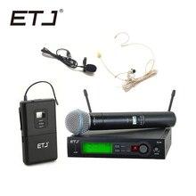 EtjブランドSLX24/BETA58 58Aプロフェッショナルuhfワイヤレスデュアルマイクシステムハンドヘルドヘッドセットマイク