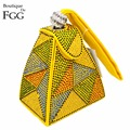 Festa de Casamento Embreagens Wristlets Bolsa das mulheres Do Vintage Geométrica Amarela Quente Fixo-Pirâmide de Diamante de Cristal Noite Sacos de Embreagem