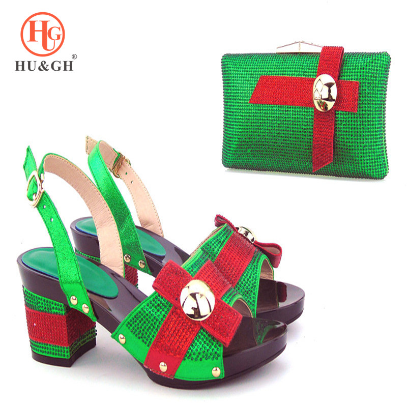2018 latest Green Color Italian Shoes with Matching Bags Shoe and Bag Italian Design Set Nigerian Women Wedding Shoe and Bag Set free shipping fashion woman italian matching shoes and bags set wedding party lady shoe and bag set with rhinestones mm10126