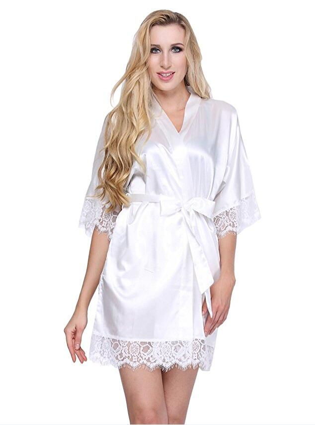 Bride Robe Nightwear Dressing-Gown Silk Kimono Short-Satin Peignoir Lace Wedding Sexy