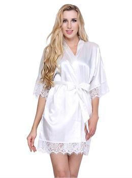 Sexy Wedding Dressing Gown Women Short Satin Bride Robe Lace Silk Kimono Bathrobe Summer Bridesmaid Nightwear Plus Size Peignoir Sleepwear, Lounge & Robes