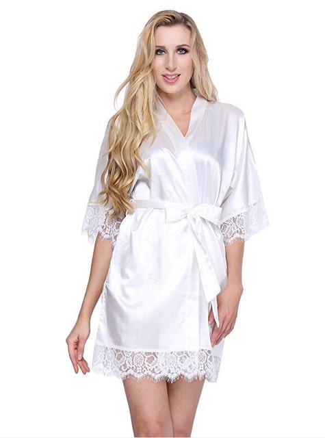 8b006afe2e Sexy Wedding Dressing Gown Women Short Satin Bride Robe Lace Silk Kimono  Bathrobe Summer Bridesmaid Nightwear Plus Size Peignoir