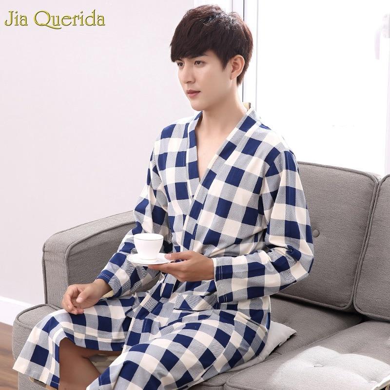 Bath Robe Men 100% Cotton Mens Robes Long House Coat Mens Kimono Plaid Nightdress Plus Size Men Pajama Kimono Chinese Robe Male(China)