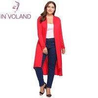 In'voland كبيرة الحجم النساء سترة سترة الخريف طويلة الأكمام رايات فتح جبهة متماثلة الإناث معطف طويل القمم زائد الحجم 5xl