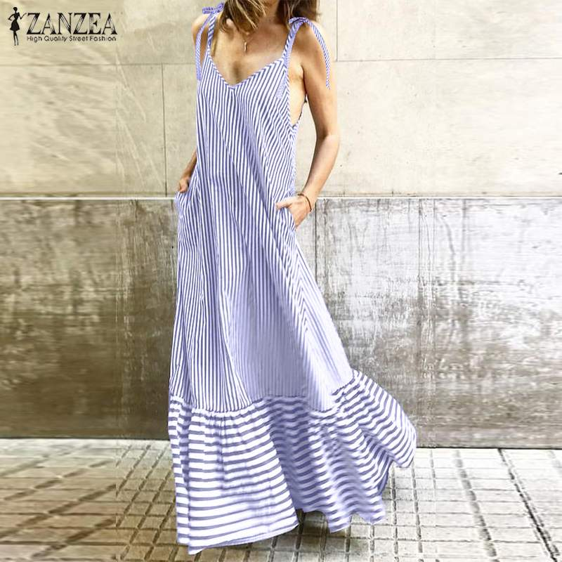 2019 Summer Sundress ZANZEA <font><b>Women</b></font> <font><b>Sexy</b></font> Long Maxi Vestidos Ladies <font><b>Sleeveless</b></font> Long Tanks <font><b>Striped</b></font> Ruffles <font><b>Beach</b></font> Vestidos Party Robe image