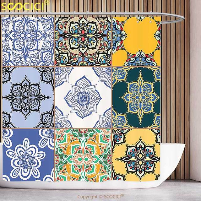 Decorative Shower Curtain Moroccan Decor Multi Set Of Islamic And  Portuguese Tile Patterns In Various Tones
