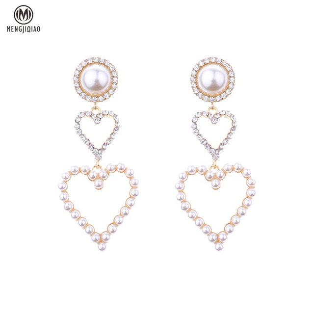 2017 New Temperament Big Hollow Heart Drop Earrings Sweety Simulated Pearl Round