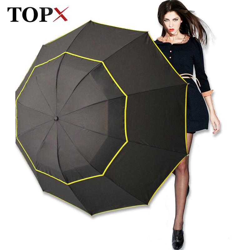 130cm Big Top Quality Umbrella Men Rain Woman Windproof Large Paraguas Male Women Sun 3 Floding Big Umbrella Outdoor Parapluie(China)