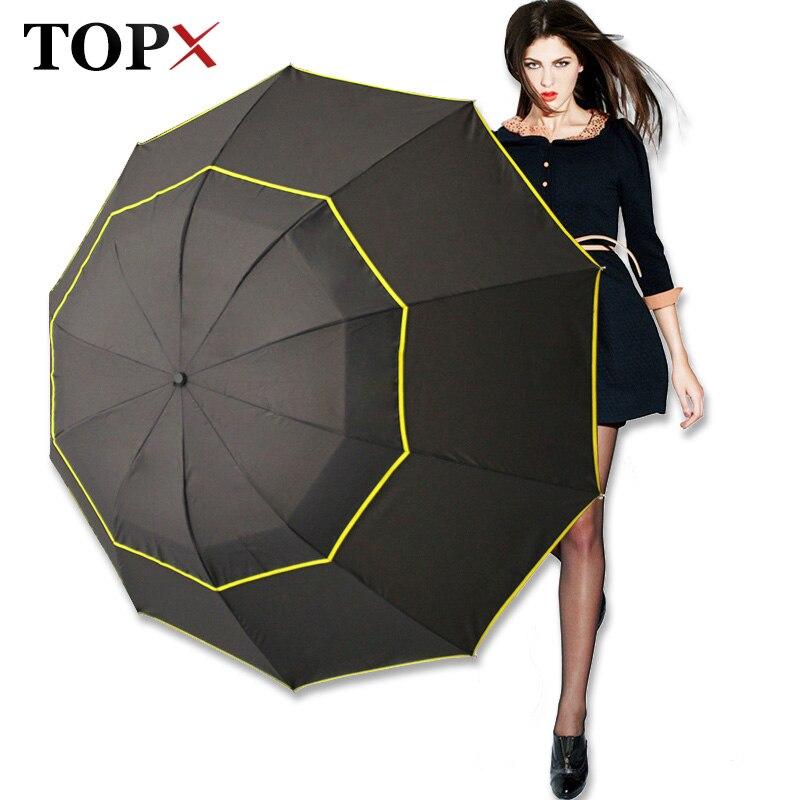 130 cm Big Top Quality Uomini Ombrello Pioggia Donna Antivento Grande Paraguas Maschio Donne Sole 3 Floding Grande Ombrello All'aperto Parapluie
