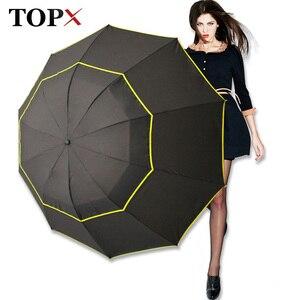 Image 1 - 130cm grand haut qualité Parapluie hommes pluie femme coupe vent grand paraguay mâle femmes soleil 3 pliant grand Parapluie en plein air Parapluie