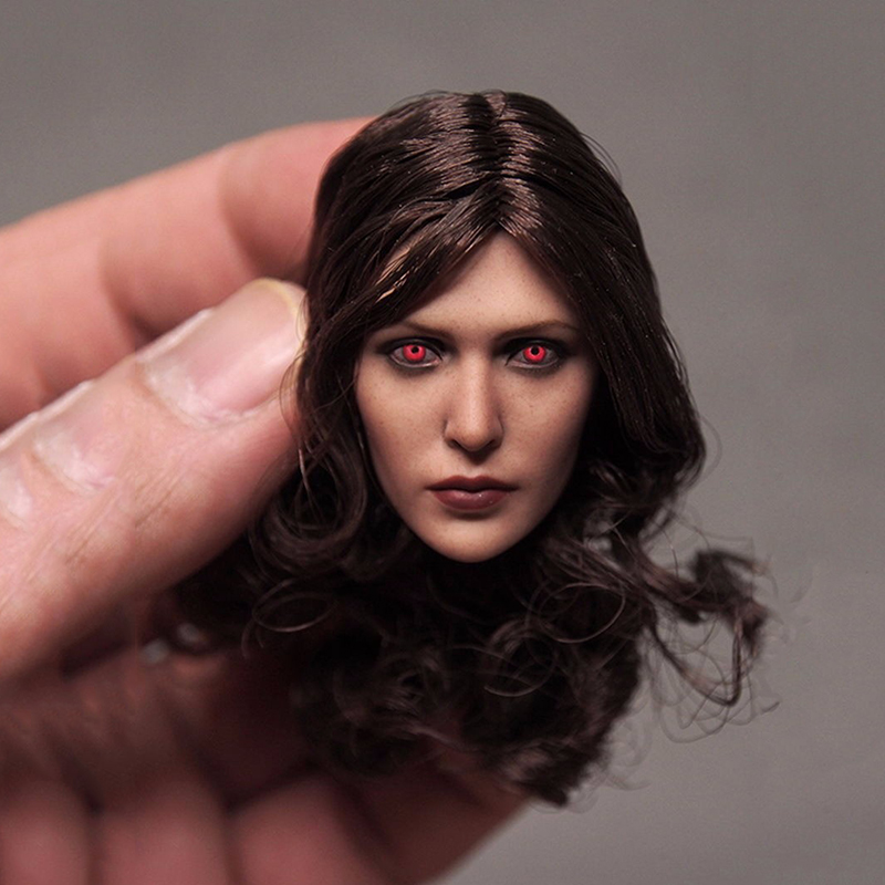 On Sale Custom 1/6 Female Head Sculpt Elizabeth Olsen Scarlet Witch Red Eyes Ver Head Carving for 12 Action Figures Accessories elizabeth george speare the witch of blackbird pond