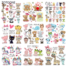 ZOTOONE Iron on Patches Cute Bear Unicorn Patch Thermo Transfer for Clothes Stickers Letter Badges Washable DIY Gril T-shirt G