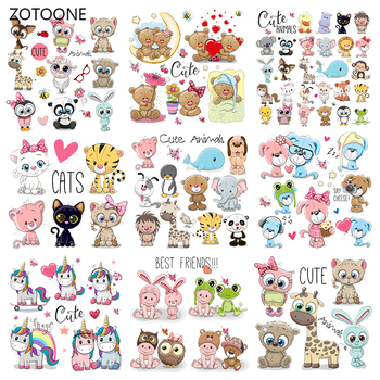 ZOTOONE Iron on Patches Cute Bear Unicorn Patch Thermo Transfer for Clothes Stickers Letter Badges Washable DIY Gril T-shirt G zotoone owl animal heat transfer patches for clothing sticker diy cute iron on letter transfert thermocollants t shirt printed g