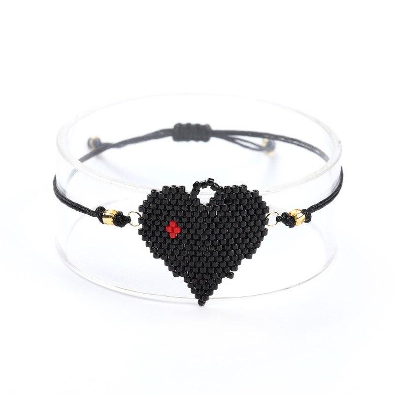 SHINUSBOHO Black Love Heart Miyuki Couple Bracelets Loom