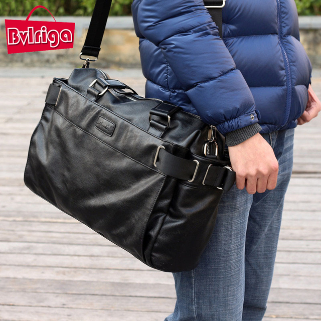 BVLRIGA Men messenger bags mens leather big size shoulder bag famous designer brands high quality men's travel bags high quality