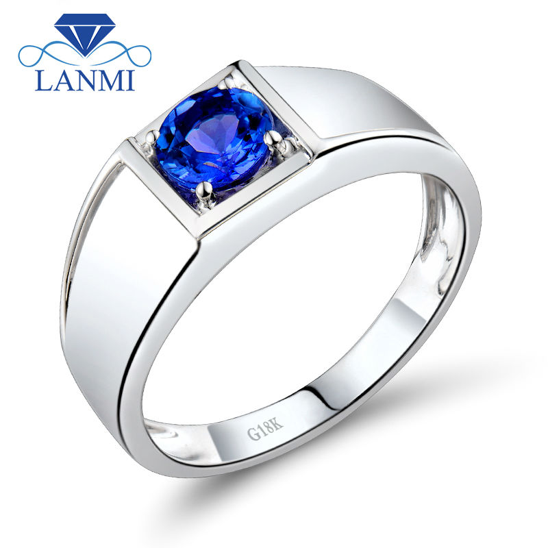 Noble Round 5mm Natural Tanzanite Wedding Rings For Men In 18Kt White Gold WU292