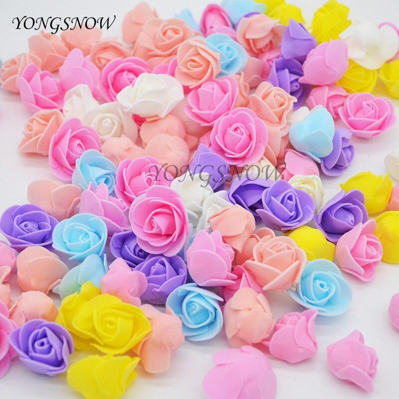 100 Unids/lote 2.5 cm Multicolor Cabezas de Flor Artificial De Rose Decoración d