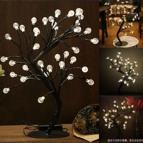 Hartig Led Kerst Bonsai Boom Blauw Rood Kersenbloesem Xmas Lights Pre Lit Genezen Van Hoest En Het Verlichten Van Slijm En Verlichten Heesheid
