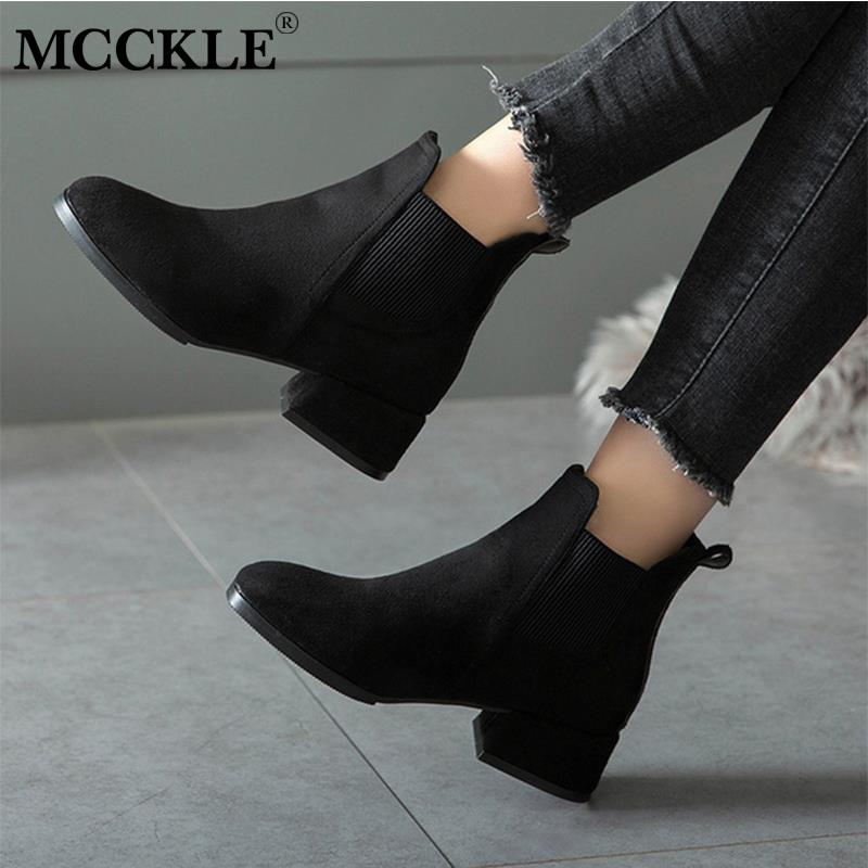 Autumn Shoes Women Ankle Boots Suede Black Chelsea Boots Slip On Ladies Casual Thick Heel Shoes Fashion Comfortable Female 35-41