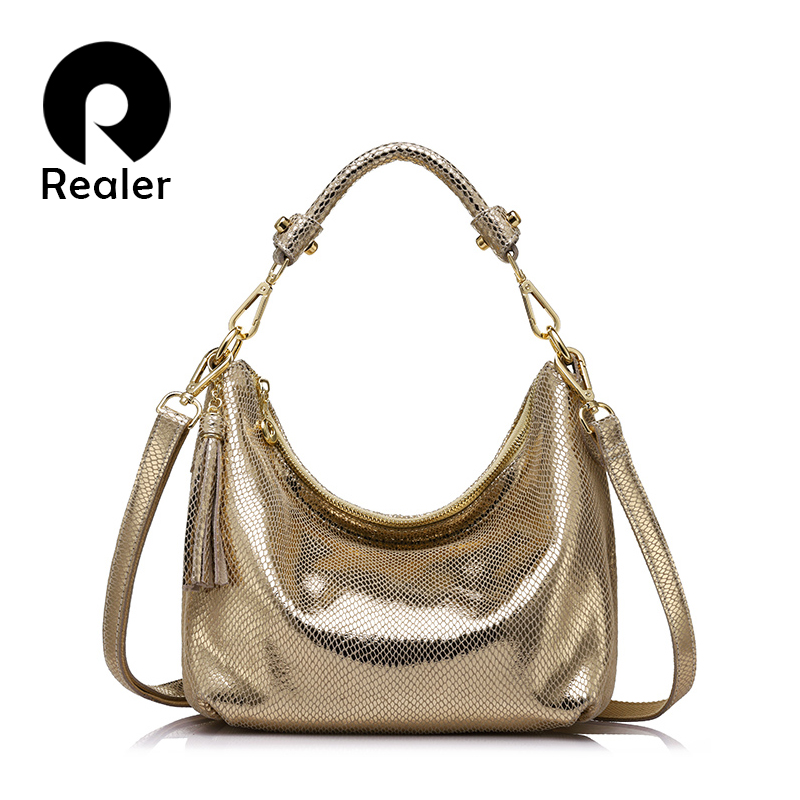 REALER women genuine leather shoulder bag serpentine pattern small handbag casual tote bag lady crossbody bag Gold/Silver