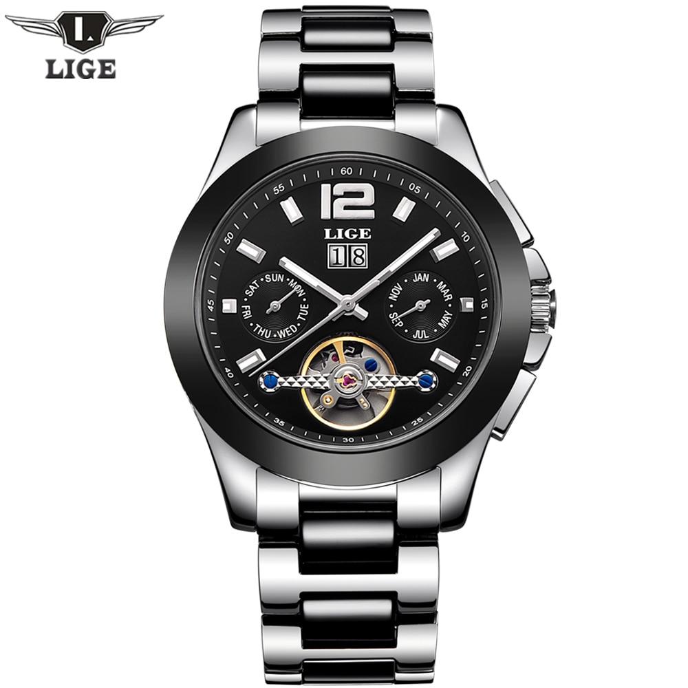 ФОТО Fashion Luxury Brand LIGE Men Watch Tourbillon Hollow Calendar Automatic Mechanical Watch Male Casual dress Clocks Relogio 2016