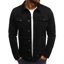 Для Мужчин's осень-зима Кнопка Твердые Цвет Винтаж джинсовая куртка блузка пальто Для мужчин толстовки хлопковая Футболка капюшон # EW