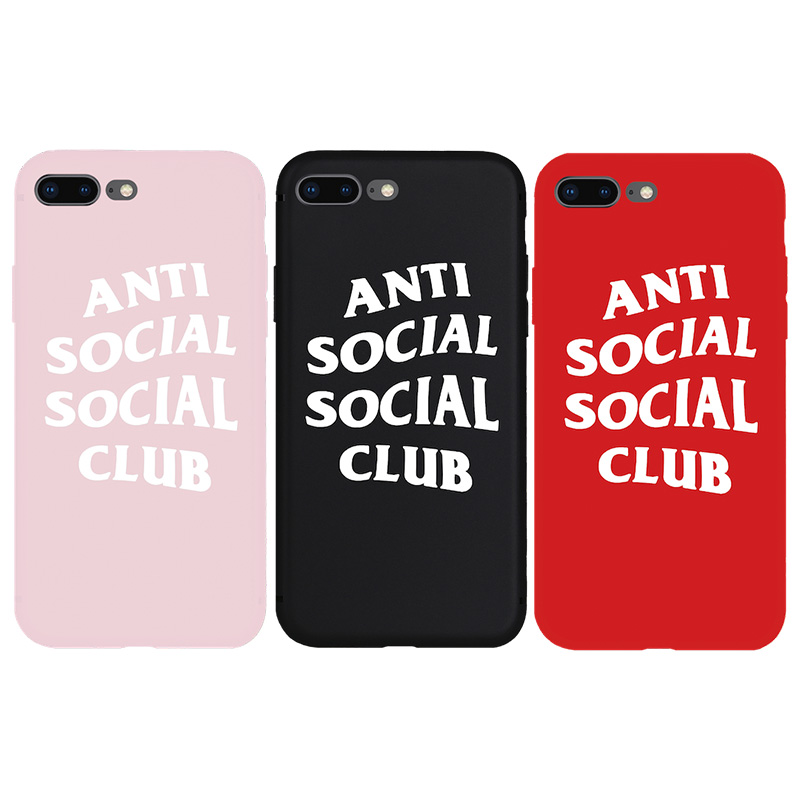NEW ASSC Anti Social Club Cool TPU Silicone Soft Case for iPhone X Xs Max XR 8Plus 7 8 Plus 6 6s Plus 5 5s SE Phone Cover Coque