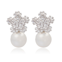 E125657 New Champagne Pearl Zircon Earring Zinc Alloy Silver Plated Rose Gold Plated With Austria Crystal